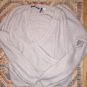 H&M Light Gray Wrap Sweater